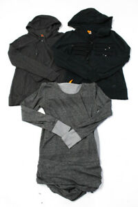 Lucy-Womens-Long-Sleeve-Hooded-Sweatshirts-Tops-Gray-Black-Size-Small-Lot-3