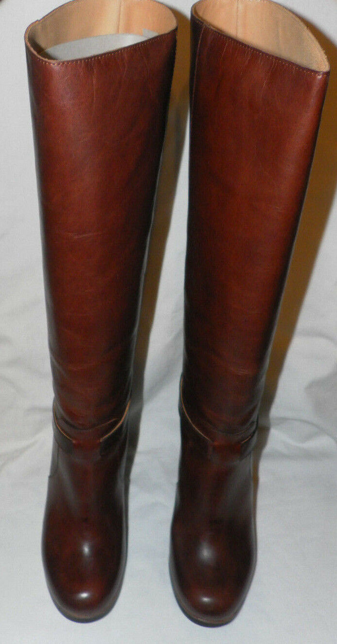 MM6 MAISON MARTIN MARGIELA BROWN LEATHER KNEE HIGH BOOTS Sz. 8 US  38 EUR