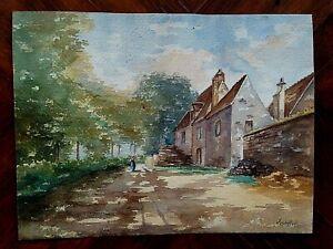 100% Vrai Peinture Aquarelle Par Pierre Abadie-landel (1896-1972) Paysage Village RafraîChissant Et Enrichissant La Salive