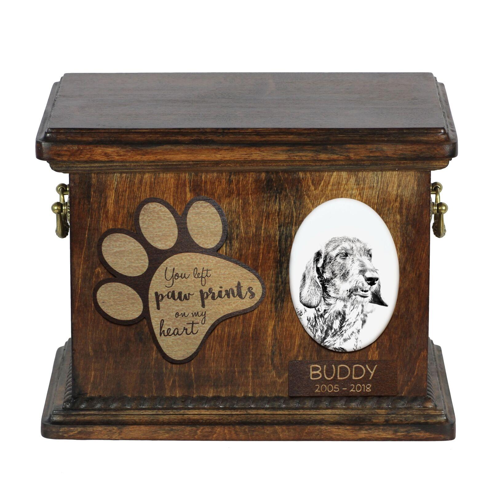 Bassotto wirehaired - Urna per cenere di cane con piatto in ceramica Art Dog IT