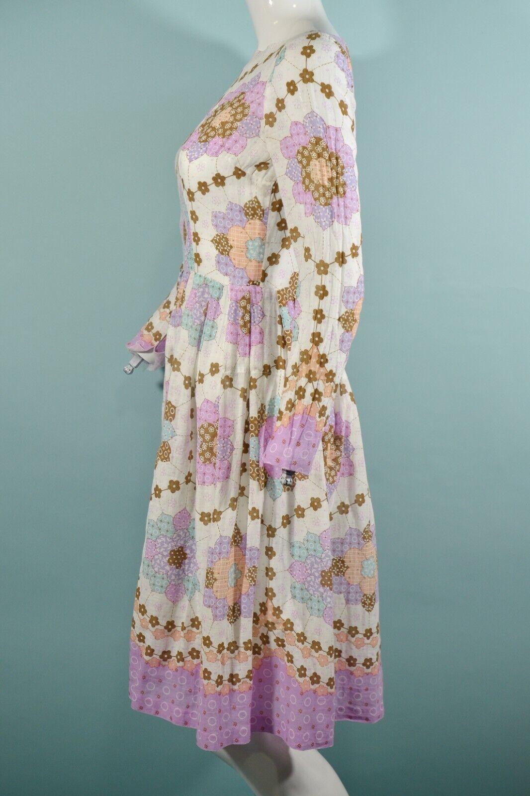 Vintage 60s/70s Faux Patchwork Hippie Dress, Cott… - image 4
