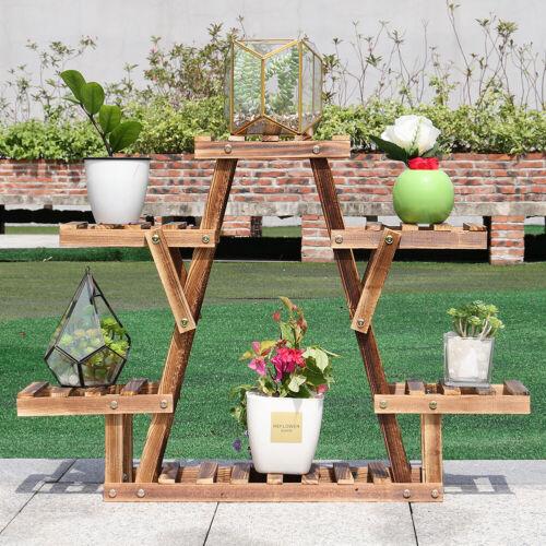 4 Tier Wooden Ladder Shelf Flower Planter Plants Stand Bonsai Books Storage Rack