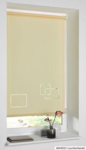 Rollo Seitenzugrollo Zugrollo Klemmrollo Motiv Design Vierecke Beige 80 x 150 cm