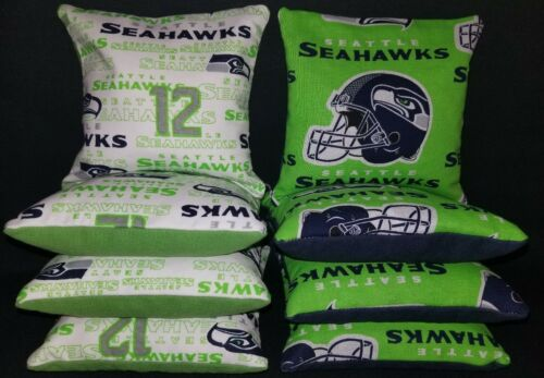 Set Of 8 Seattle Seahawks Cornhole Bean Bags FREE SHIPPING