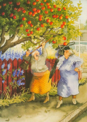 "Inge Löök Nr 11 /""/'Frauen schütteln Apfelbaum/"" Postkarte Postcrossing Grußkarte"