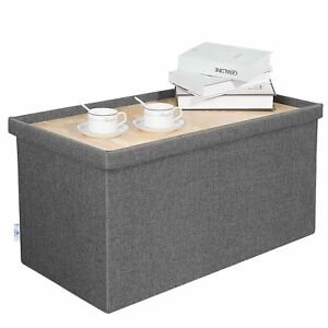 Brilliant Details About B Fsobeiialeo Storage Ottoman With Tray Linen Coffee Table Folding Long Shoes Machost Co Dining Chair Design Ideas Machostcouk