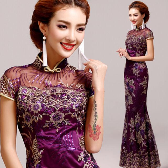 Purple Chinese Cheongsam Evening Prom Wedding Mermaid Dress Ball Gown Sequins