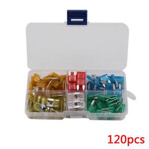 120X-Mini-Pequeno-Surtido-Coche-Vans-Auto-hoja-fusibles-Set-5-10-15-20-25-30-Amp-caso