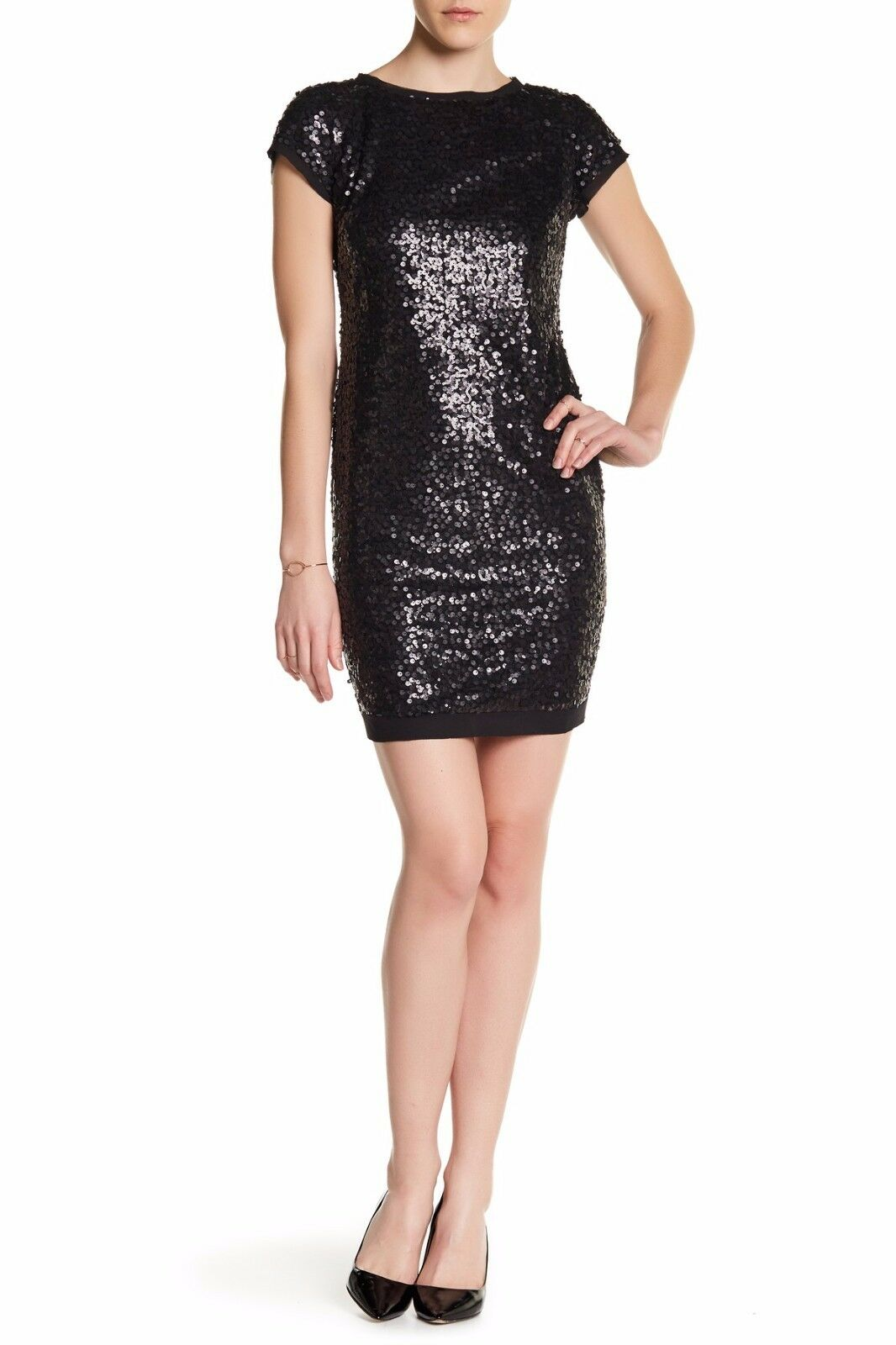 Vince Camuto Short Sleeve Sequin Dress (Size 10)