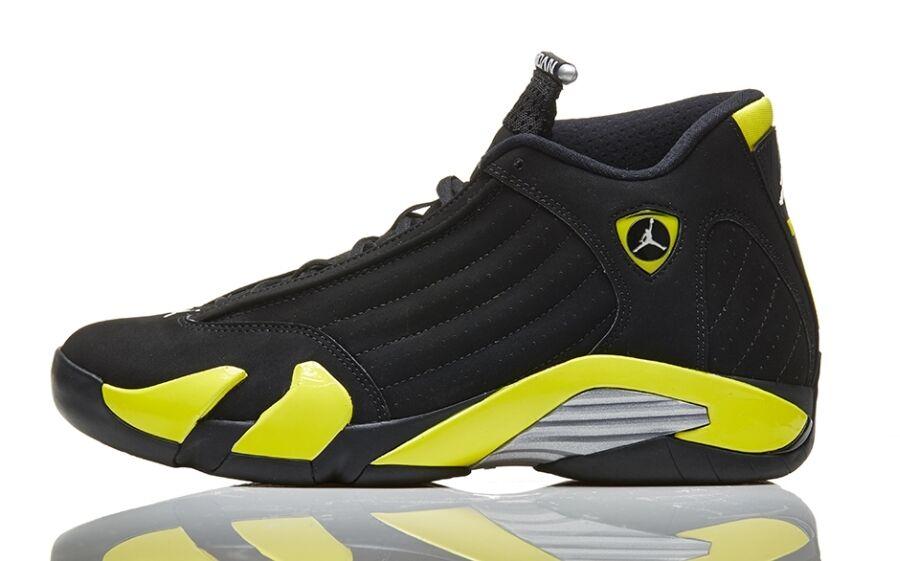 Nike air jordan 14 xiv donner größe 13.schwarz - gelb.487471-070.die qs - schwarz