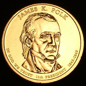 2009-D-James-K-Polk-Presidential-Dollar-Pos-B-Coin-is-from-U-S-Mint-Roll