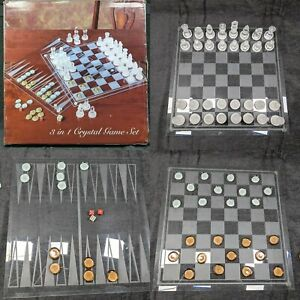 Crystal-3-in-1-Chess-Set-35-cm-x-35-cm-planches-5-cm-pieces-de-dames-et-backgammon