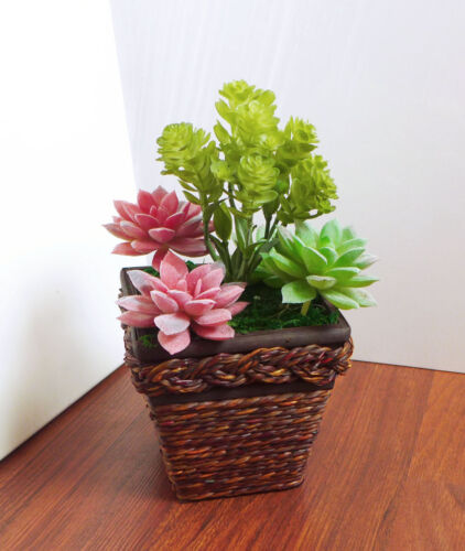 5 Grasses Artificial Mini Flocking Succulents Plants