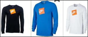 BLACK WHITE NWT Nike FUTURA BOX LOGO Long Sleeve Tee SIGNAL BLUE AJ3873