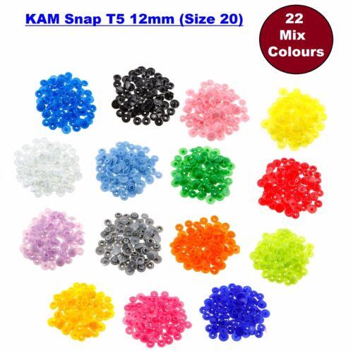 12 mm KAM Snaps T5 tamaño 20 Popper Broches De Presión Cierre Botones 22 Colores 440 un