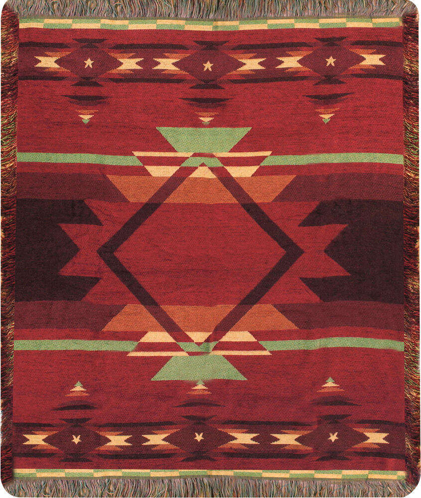 Flame  Southwestern Tapestry Chenille Afghan Throw