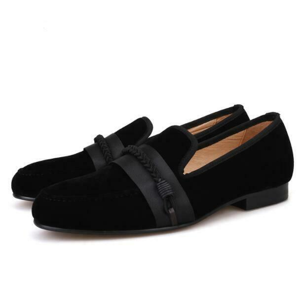 Mens Fashion Round Toe Slip On Loafers Business Dress shoes Gentleman Suede