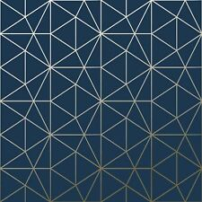Metro Prism Geometric Triangle Wallpaper Navy Blue Gold Wow008 Luxury