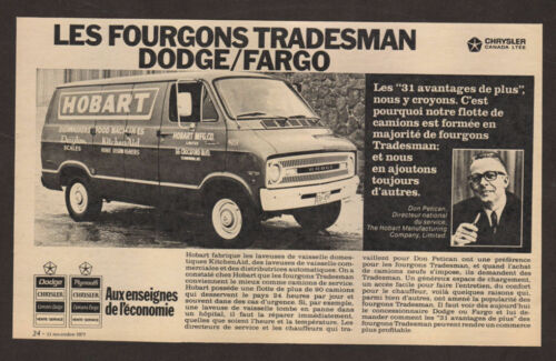 Hobart photo French Canada 1971 DODGE Tradesman Van Vintage Original Print AD