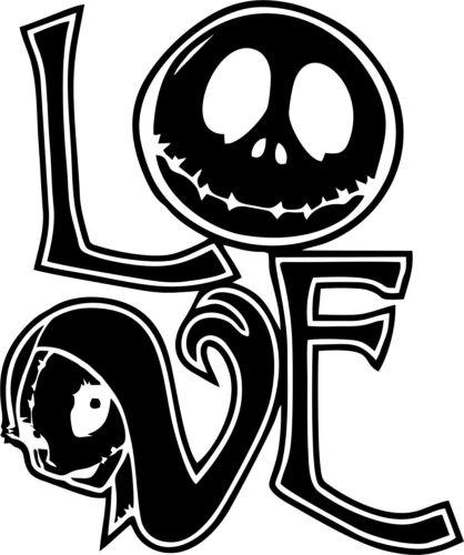 Nightmare Before Christmas Love Sally and Jack Decal Sticker Window Hallowee