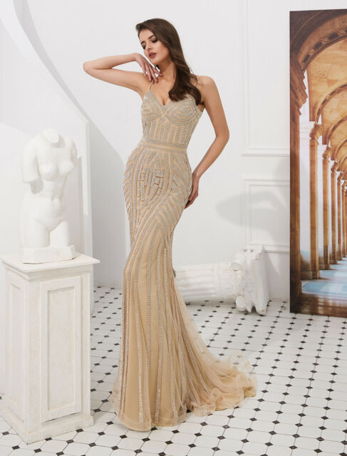 a7257fec17 Luxury Evening Dresses Formal Mermaid Champagne Crystal Prom Party Bridal  Gowns