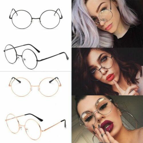 Women Men Large Oversized Metal Frame Clear Lens Round Circle Eye Glasses Nerd