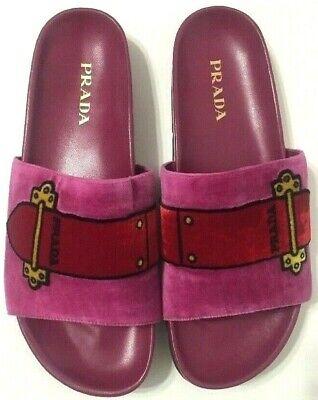 Prada Slides Velvet Belt Sandals Pink