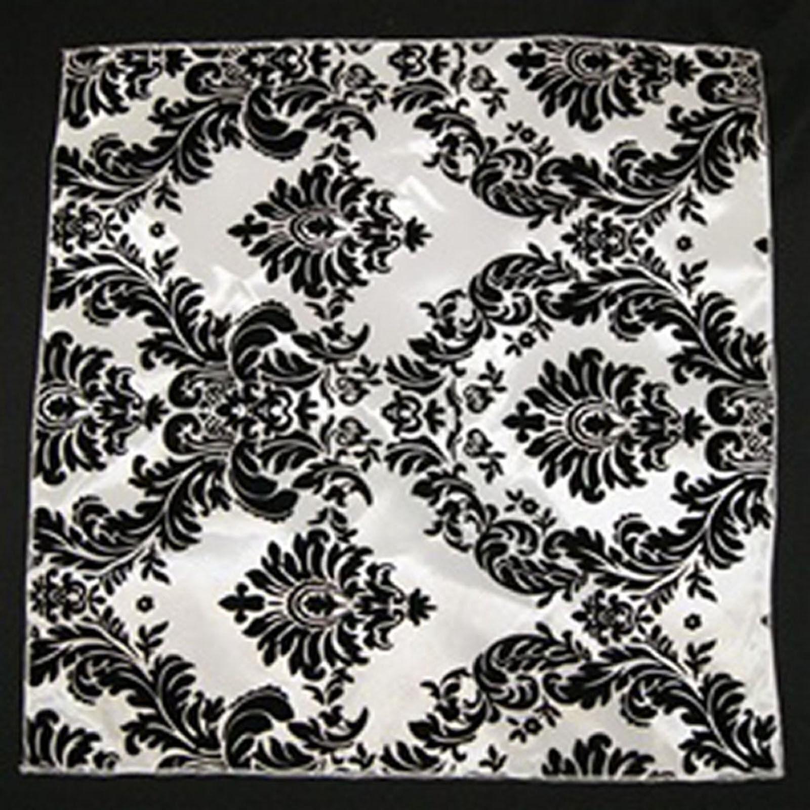 150 fine 18  X 18  flocage Noire Damassée Blanc Serviettes