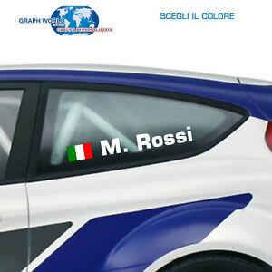4-Adesivo-sticker-NOME-PILOTA-AUTO-STILE-RALLY-tuning-auto-moto-lato-Dx-e-SX
