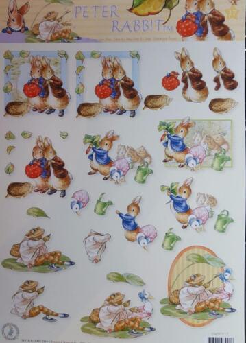 A4 3D Paper Tole Beatrix Potter Peter Rabbit Tom Kitten Jermina Puddleduck NEW