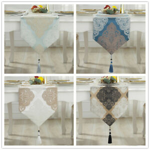 Luxury-White-Bronze-Damask-Thick-Jacquard-Tassels-Wedding-Bed-Table-Runner-Cloth