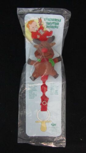 Mouse Choose from Santa Russ Christmas Pacifier Buddies Clip Rudolph