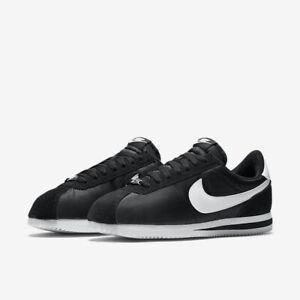 Détails sur Hommes Nike Cortez de Base Nylon NoirBlanc Chaussures Sport 819720 001 UK 6.5