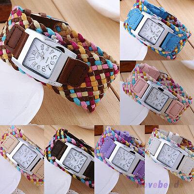 Women Fashion Casual Quartz Watches Braided Bracelet Leather Strap Wristwatches