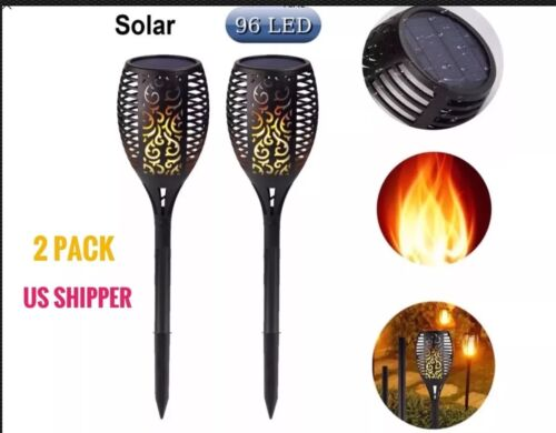 2 PACK 96LED Solar Flickering Flame Torch Light Outdoor Waterproof Path Driveway