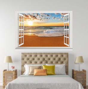 3D Beach Dusk 406 Open Windows WallPaper Murals Wall Print Decal Deco AJ Summer