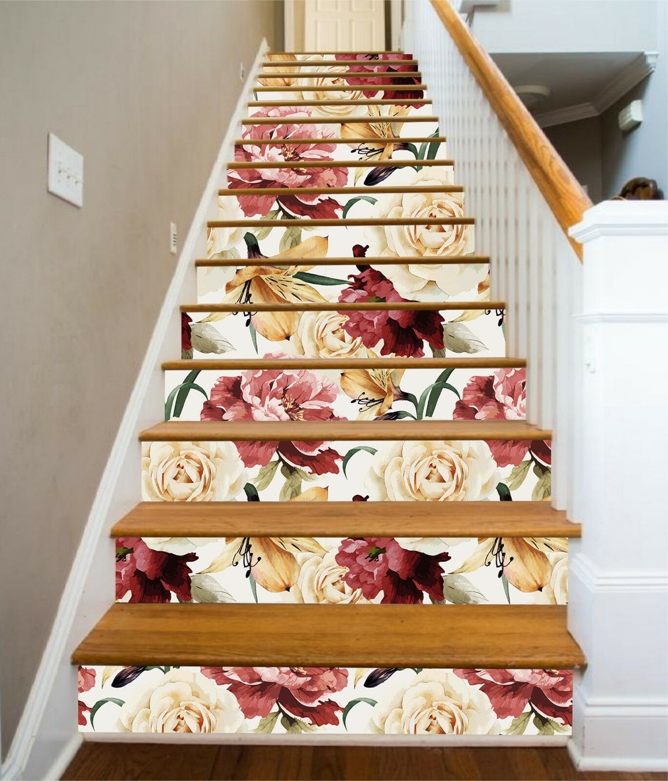 3D Peony Painted 16 Stair Risers Decoration Photo Mural Vinyl Decal Wallpaper CA
