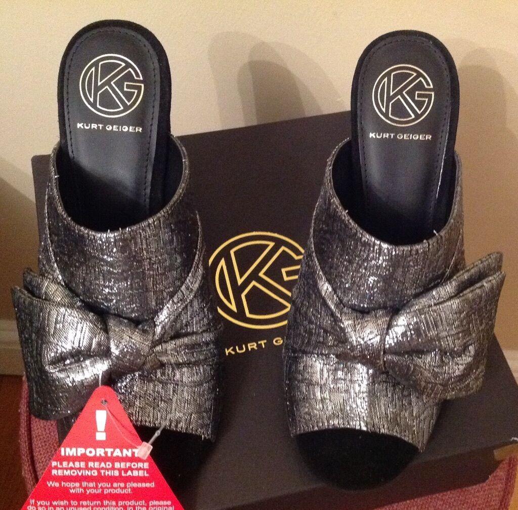 BNWT KG Beautiful Kurt Kurt Kurt Geiger Pewter Grey Knot High-Heeled Mules, Size 5 b8404f
