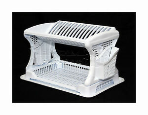 Plastic-Dish-Drainer-Stylish-Design-Two-2-Layer-Rack-Utensil-Cutlery-WHITE
