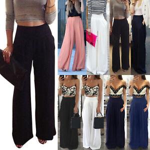 Women-Plain-Wide-Leg-High-Waist-Chiffon-Pants-Lady-Palazzo-Loose-Casual-Trousers