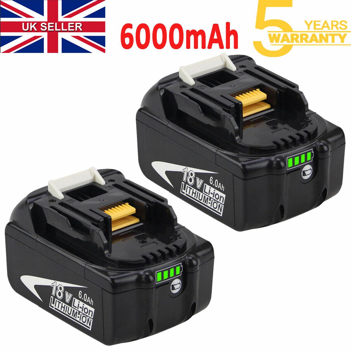 2x for Makita 18V Battery 6.0Ah BL1830 BL1840 BL1850 BL1860 LXT LED Indicator