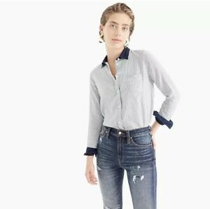 ede54045ae6b NWT J. Crew CLASSIC-FIT SHIRT IN MIXED DENIM STRIPE Women's SIZE 6 ...