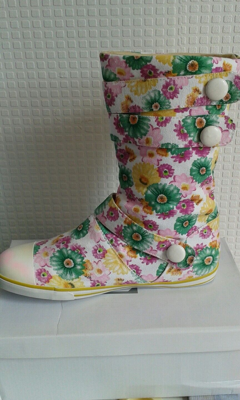 Womens ladies new multi colour flower design canvas flat boots u.k size 3