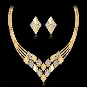 EG-Women-Gold-Plated-Rhombus-Necklace-Earrings-Rhinestones-Jewelry-Set-Sanwood
