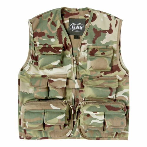 Children/'s Army Camo Woodland Camouflage Kids Multi Pocket Vest New