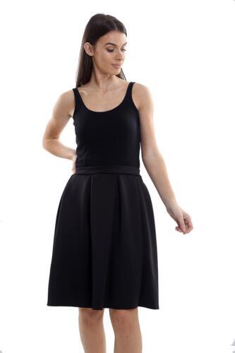 Women's Ladies Plain Pleated Waist Band Flared Swing Skater Fashion Skirt