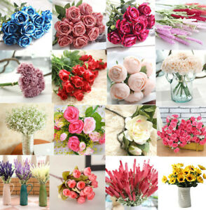 1-Bouquet-Artifical-Rose-Silk-Flower-Wedding-Party-Home-Decoration-Decor
