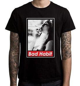 Brutta-abitudine-di-fumare-Girl-T-shirt-uomo-Cannabis-Weed-Spinello