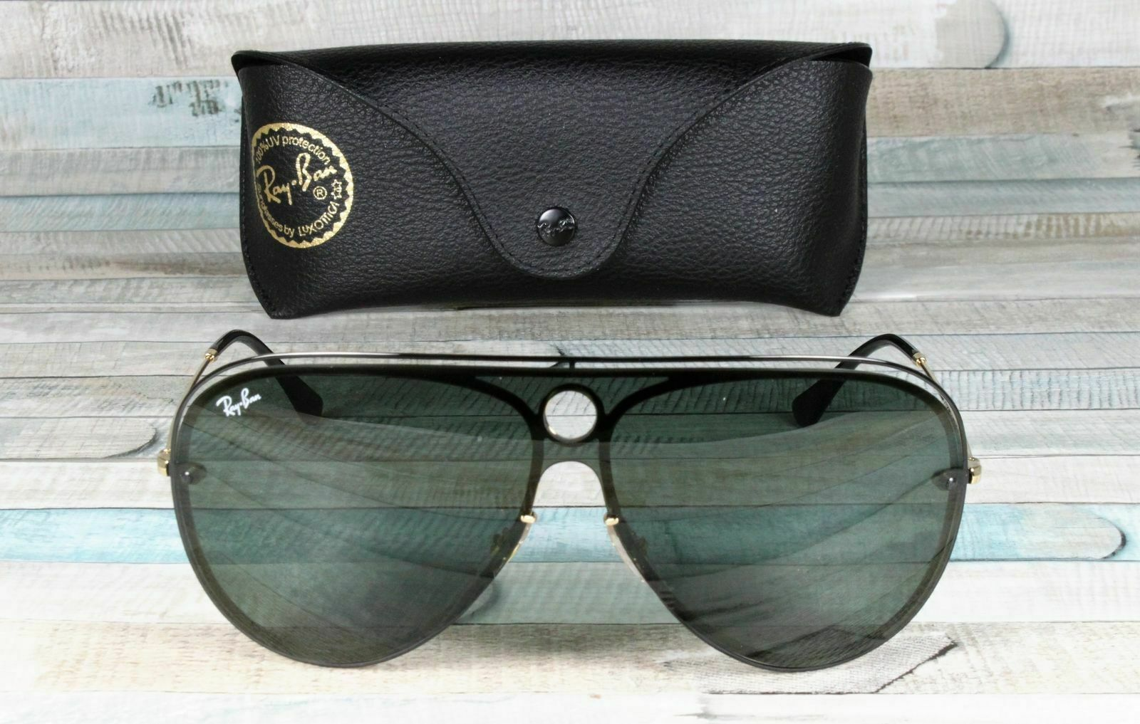 57a7270c05 Ray Ban Rb3605n 187 71 Shiny Black on Gold Dark Green 32mm Unisex Sunglasses  for sale online