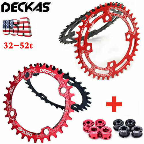 DECKAS MTB Bike Narrow Wide Round Oval Chainring BCD104mm 32T~52T With 4pc Bolts